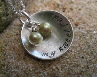Little Sweet Peas Personalized Hand Stamped Sterling Silver Necklace
