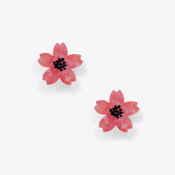 Bright and Light Pink Flower Earrings