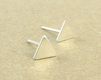Silver Triangle Stud Earrings, Sterling Silver Studs, Cartilage Studs, Gift for Her, Petite Studs, Triangle Earrings, Gift Under 25