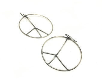 Hoop earrings peace sign earrings silver peace sign earrings big hoop earrings peace sign hoops silver hoops