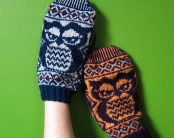 PDF knitting pattern- Fair Isle Owlie Mittens