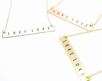 "Tiny Gold Bar ""LOVE LOVE"" Necklace - Dainty, Simple, Birthday Gift, Wedding Bridesmaid Gift"