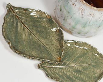 Set of Two Leaves - Spoon Rest - Tea Bag Rest - Ring Dish - Handmade Ceramic