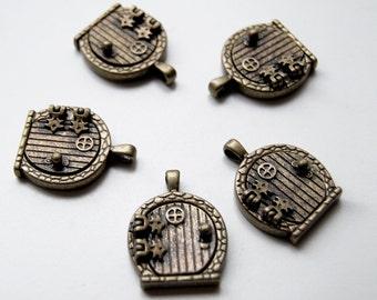 FIVE Antiqued Brass Fairy Door Lockets