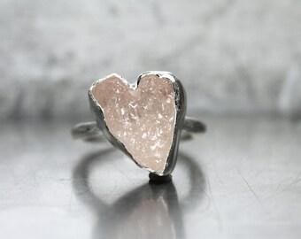 Rough Rosy Pink Kunzite Heart Ring Silver Valentine Love Romantic - Slightly Slanted