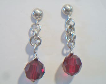 Red Swarovski Crystal Chain Link Earrings Sterling Silver Dangle Jewelry Fashion Accessories Valentine's Day Christmas