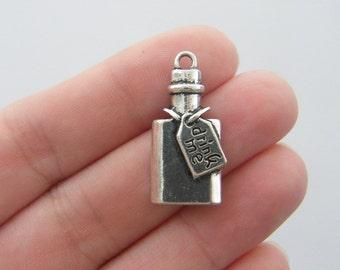 BULK 10 Drink me bottle charms antique silver tone FD175