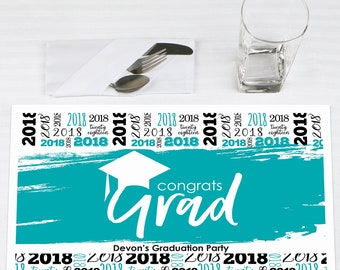 Teal Grad - Best is Yet to Come - Graduation Party Place Mats - 2018 Grad Personalized Party Supplies - Teal Paper Placemats - 12 Ct.