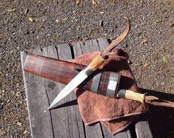 Paired antler handled knifes