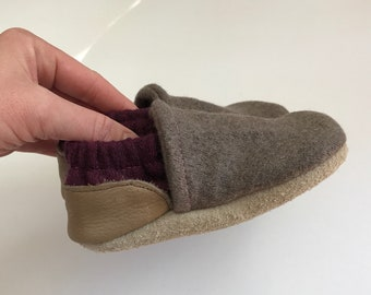 2 Year Upcycled Wool Moccasins / Merino Wool Toddler Slippers / Baby Booties / Wool Soft Soled Shoes