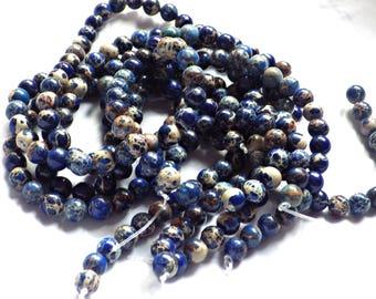 8mm Dark Blue Impression Jasper Round Beads