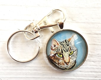 Cat Memorial Keychain- Cat Gifts- Cat Loss Gifts- Cat keychain- Cat Memorial Gift- Loss of Cat- In Memory of Cat- Cat Portrait Custom- Cat