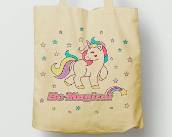 Cute Unicorn Bag, be magical, long handles tote bag, school gym bag