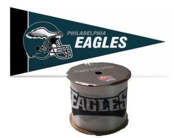 "2.5"" NFL Pihiladelphia Eagles Ribbon, 9 feet & Mini Pennant, Licensed NFL Offray Ribbon"