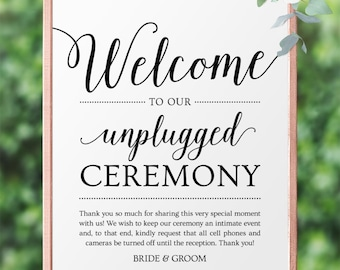 Unplugged Ceremony Wedding Sign, Digital Download // Editable Wedding Welcome Sign // Personalized Wedding Signs