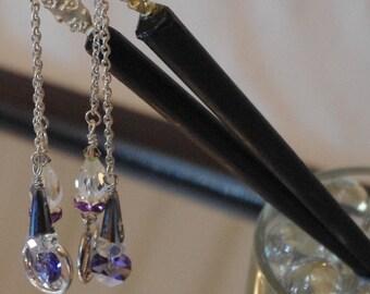 Pair of Wooden hairsticks with Swarovski crystal decoration