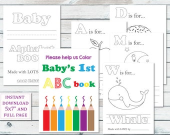 Alphabet Book Baby Shower Game Printable, Baby Alphabet Book Coloring Pages, Baby's First Alphabet Book Keepsake, Storybook Baby Shower