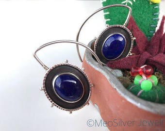 MSJ Natural Blue Lapis Lazuli  Carnival Earring < 925 Sterling Silver > One of a kind celestial jewelry