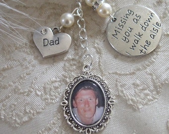 Memorial Ivory Dad Bouquet charm - Wedding Charm for Bride- Bridal Bouquet Photo Frame - Made With Swarovski Pearls - Missing You Charm.