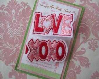 Girl hair clips - valentine hair clips - valentine barrettes - girl barrettes
