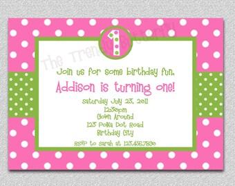 Hot Pink Polka Dot Birthday Invitation, Polka Dot Birthday Invitation,  Pink and Green Birthday Invitation,  Polka Dot Birthday Invitation