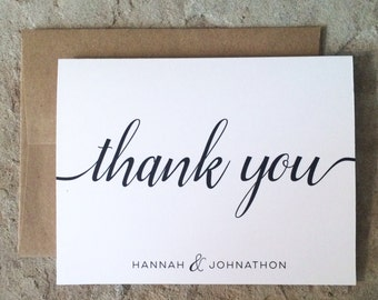 Personalized Thank You Cards - Wedding Graduation All occassion Thank You Notes - Black and White Thank Yous - set of 10+