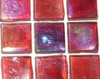 """15mm (3/5"""") Ruby Red Iridescent Transparent Glass Mosaic Tiles//Mosaic/Craft Supplies//Mosaic Supplies//Christmas Red//Hobby"""