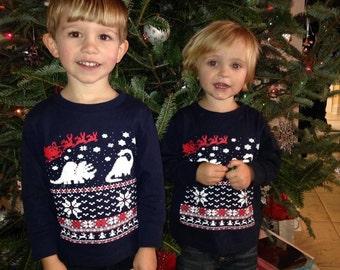Kids Christmas sweater long sleeve shirt  -- Dinosaur and Santa Claus - long sleeve - kids toddler youth sizes