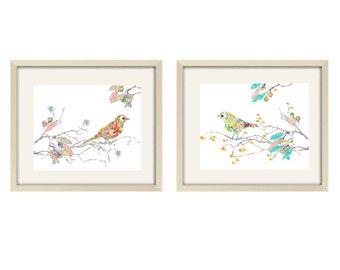Nursery Art, Baby Girl Nursery Decor Love Birds Decor, Kid's Wall Art, girl nursery art, love birds art , girl nursery decor, modern nursery