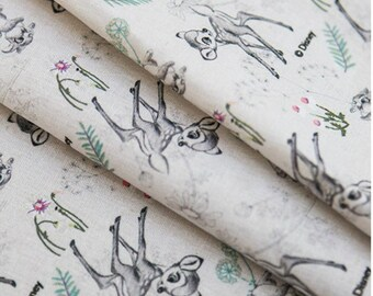 "Botanical Sketch Bambi Fabric made in Korea, Half Yard 45cm  x 150cm 18""x 58"" /Cotton&Linen"