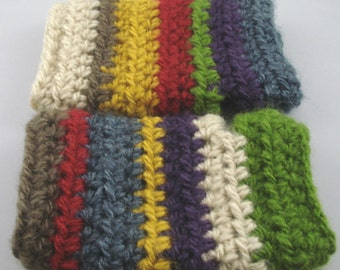 Multi-Colored Mohair Feel Striped Crocheted Wrist Warmers (size S-M) (SWG-WW-SJ01)