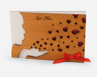 Love Cards For Him, Wood Greeting Card, Valentines Day, 5 Year Anniversary For Him, 5th anniversary gift for him, Anniversary Gifts For Men