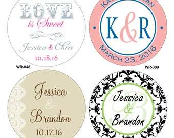 200 - 3 inch Custom Glossy Waterproof Wedding Stickers Labels - hundreds of designs to choose from - change designs to any color or wording