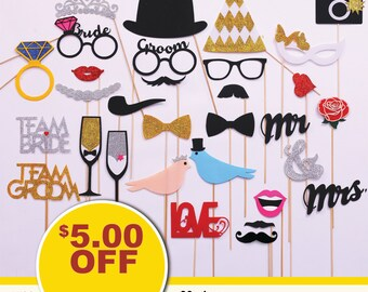 30 piece Wedding Photo Booth props. FELT and GLITTER Wedding Party Photobooth props. Wedding Decorations