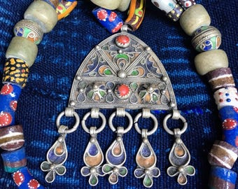 Moroccan Berber Necklace with Enamel, Coral Pendant and Dangles with Colorful Glassbeads