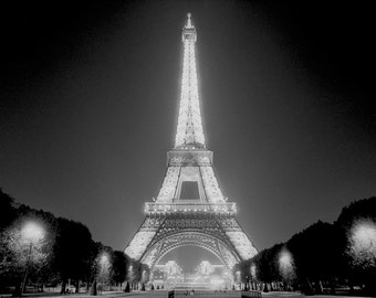 Eiffel Tower Paris Photography, Eiffel Tower at Night, Night Photography, Eiffel Tower print, Black and White Fine Art Photography