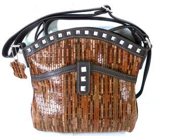 Vintage Bag Studded Genuine Leather Brown bag by  MC Chantal  Satchel Crossbody