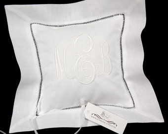 Linen ring bearer pillow personalized with your monogram jfyBride Style 5218