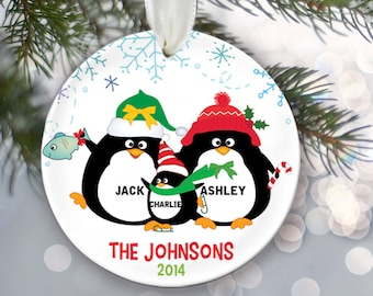 Personalized Family Christmas Ornament Penguin Family of 3 Penguins Ornament Christmas Gift Custom Ornament Holiday Gift Name & Date OR227