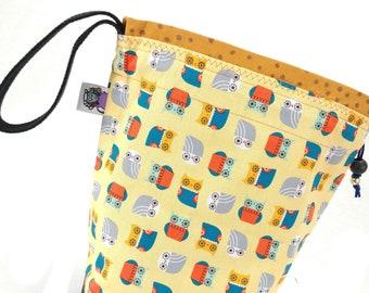 Small Knitting Project Bag Crochet Drawstring Tote WIP Bag - Owl Bring My Yarn