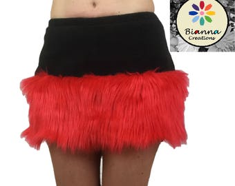 Faux Fur and Fleece skirt, Red Black Animal Cosplay Anime Convention Rave Outfit Costume Gear Dress Up, mini-skirt