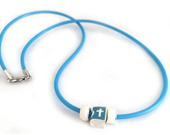 Cross Religious Necklace for Girls Kids Rubber Blue and White
