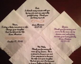 4 Custom Wedding hankerchief