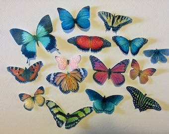 30 Edible Butterflies, Double Sided 3D Wafer Paper Toppers for Cakes, Cupcakes or Cookies