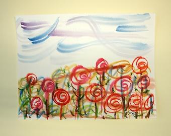 FREE SHIPPING Watercolor Original. Original painting.  28x21 cm