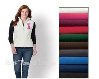 Monogrammed Fleece Vest, Monogram Womens Vest, Monogrammed Ladies Vest, Custom Vest, Personalized Ladies Vest, Winter Vest, Preppy Vest,