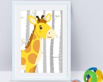 Nursery Animal Wall Art Print Cute Orange Giraffe Kids Bedroom Modern Decor Safari Animals Baby Boy Nursery Canvas Print nephews gift idea