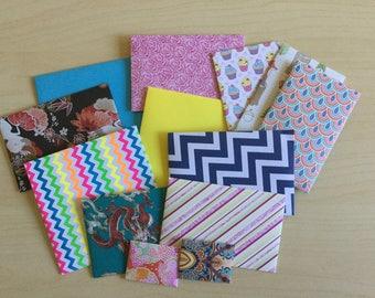 Assorted envelopes, Mixed envelopes, mystery envelopes, snail mail, coloured envelopes, patterned, stationery