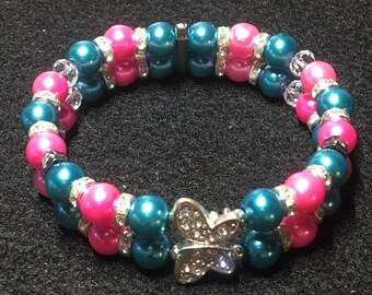 Butterfly series (Teal and pink)