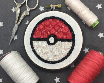 Floral Pop Pokeball Hand Embroidery - Original 4 inch Needlework Fan Art